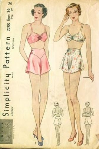 A vintage 1930s era lingerie sewing pattern showing two women wearing bras and french knickers