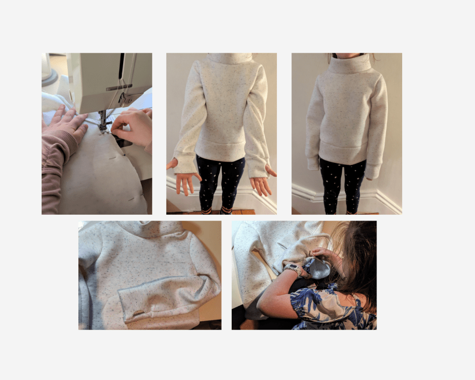 A collage of photos showing a young student (we can't see the student's face) making and modelling a sweater.