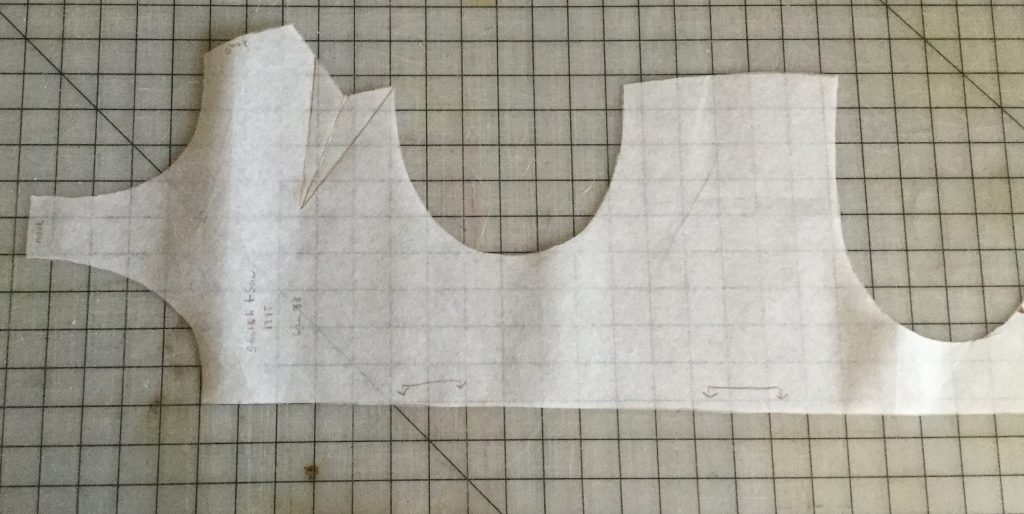 Photo of swimsuit pattern, traced onto pattern paper and cut out.