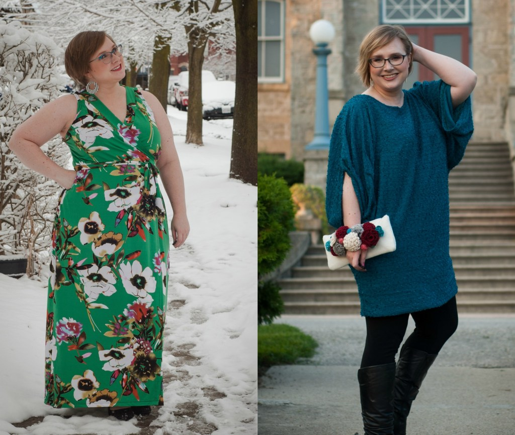 Two images: one of Gillian standing in the snow, wearing a green floral wrap maxi-length sundress, and another of her posing against an old building, wearing a teal tunic, leggings, and tall boots.
