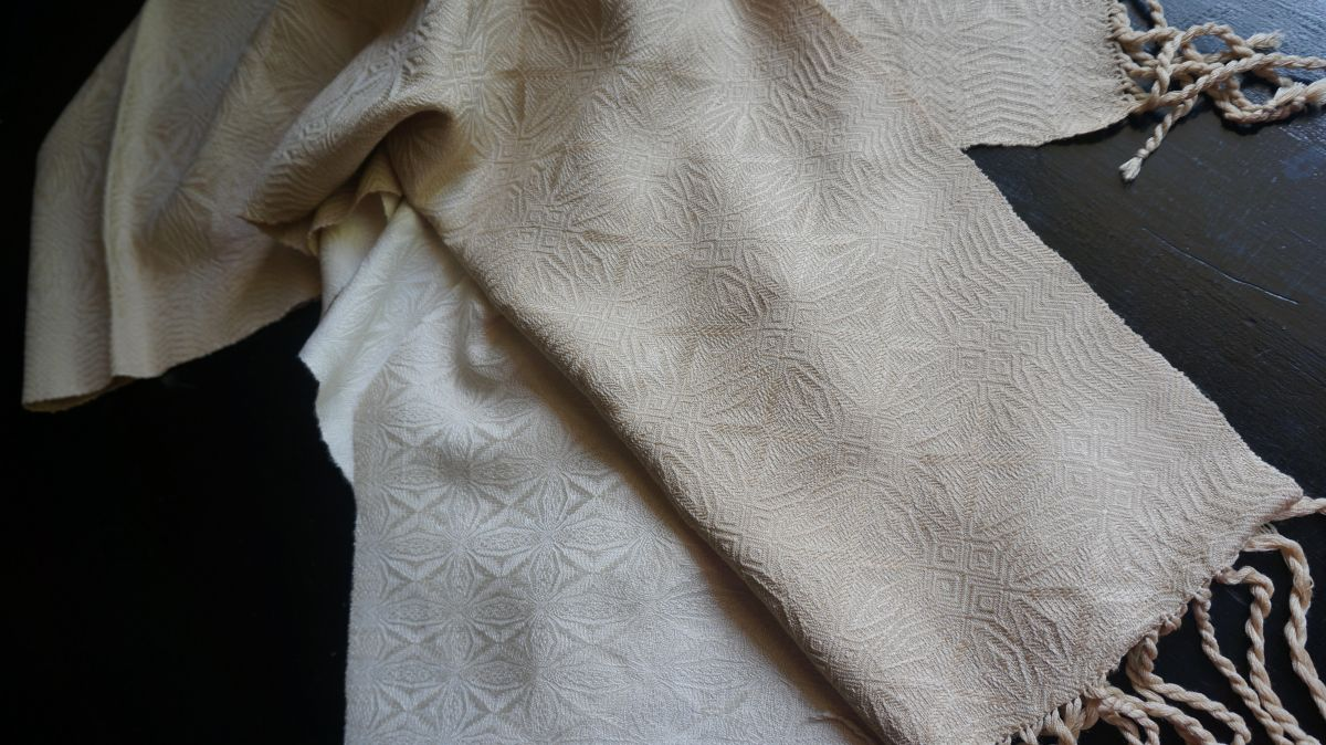 Kate's mum's silk scarf that was handwoven in cream silk with a moire effect