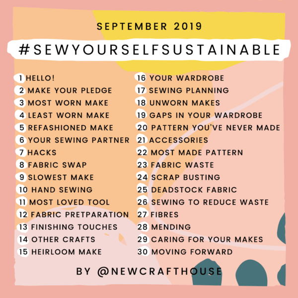 New Craft House's Instagram challenge has 30 prompts for daily sustainable sewing posts.