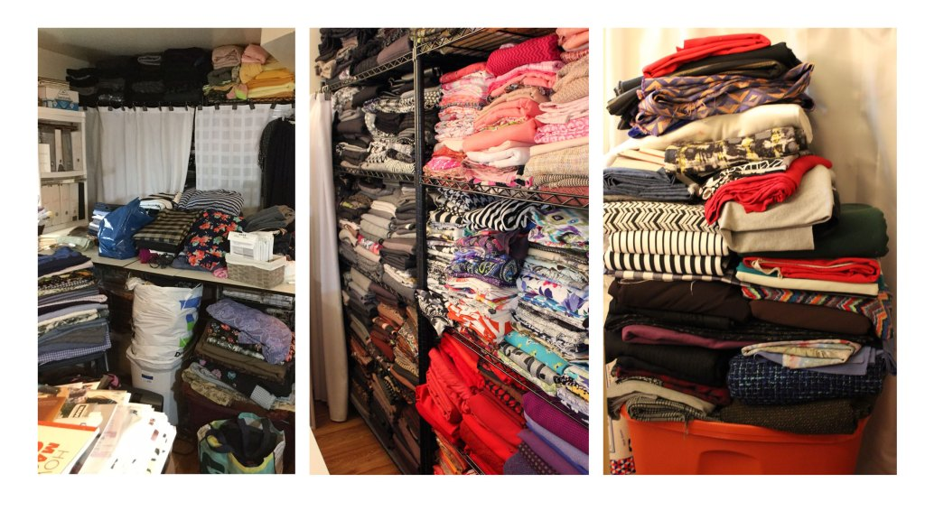3 images showing different angles of Carolyn's substantial fabric stash in her sewing cave