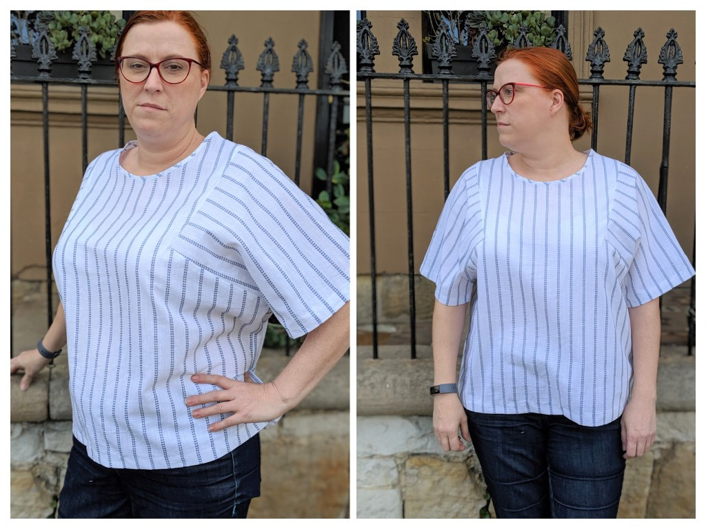 Two pictures of Chloe wearing a white and blue striped top.  In one she is looking at the camera and is slightly turned to the side with her hand on her hip.  In the other she is looking away but her body is facing the camera.