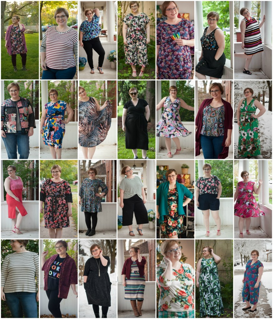 Collage of 28 outfits worn by a petite plus-size blonde.