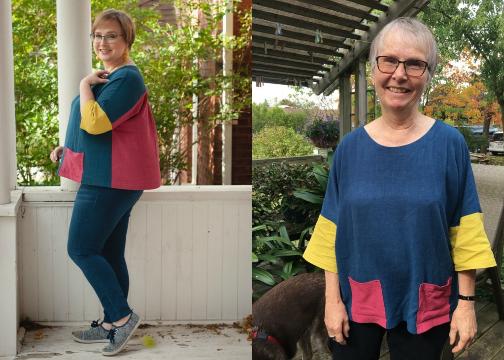 plus sized blonde and her standard-sized mother modeling the same-sized shift shirt