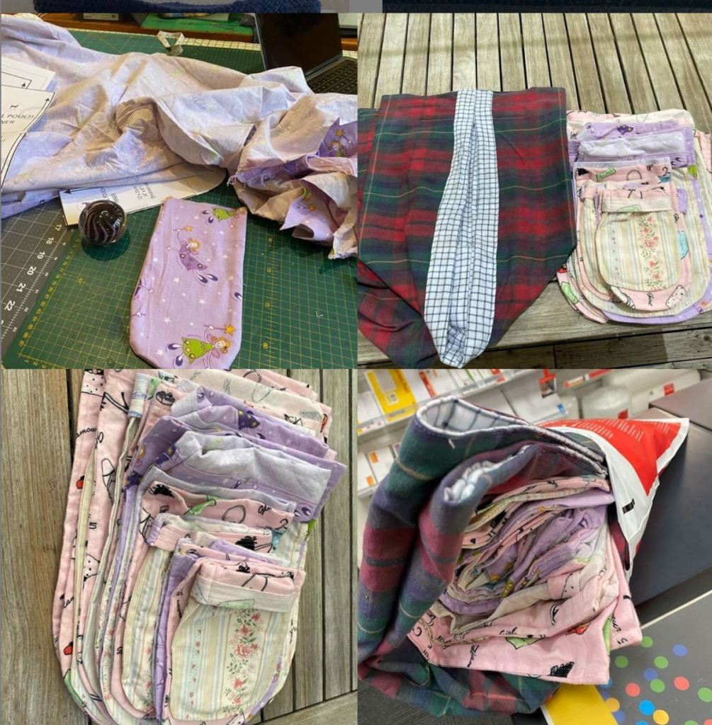 Collage of four images. One shows a small, pocket-like pouch on a cutting mat, the others stacks of finished pouches.