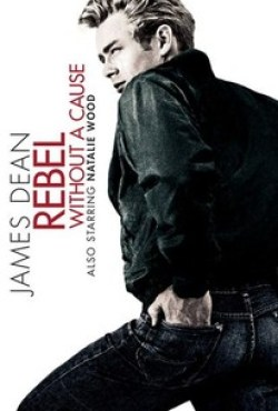 Poster for the movie Rebel without a Cause with an image of James Dean, face in profile, wearing a pair of denim jeans.