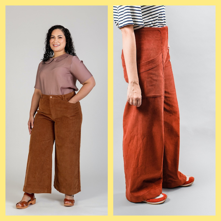 The Picture  is a collage showing two persons in trousers. The left picture comes from Megan Nielsen and shows the curvy version of the Dawn. The right picture comes from Ensemble Patterns and shows a red version of the Parasol Trousers.
