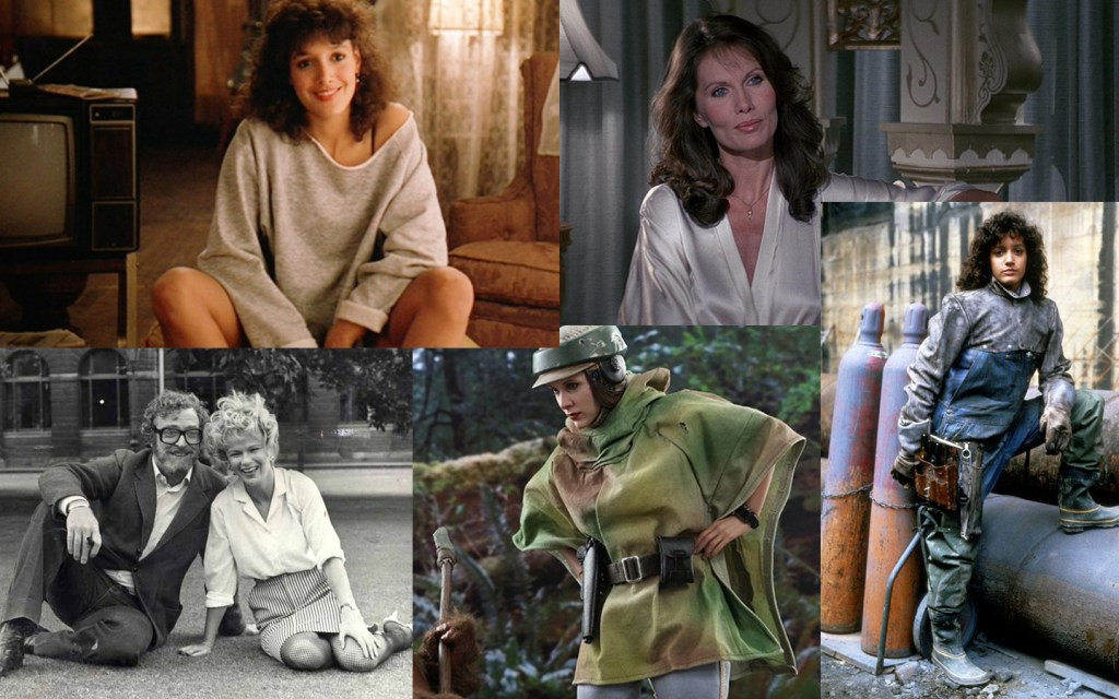 Images from films released in 1983: Flashdance, Return of the Jedi, Educating Rita and Octopussy