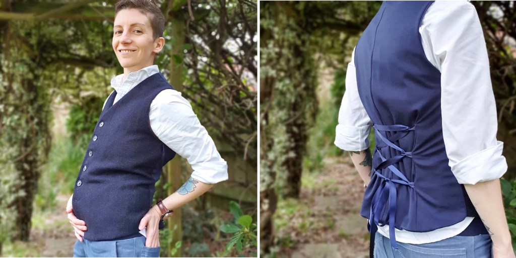 Two photos of Emery standing outside wearing a navy wool waistcoat, one side view and one back view.