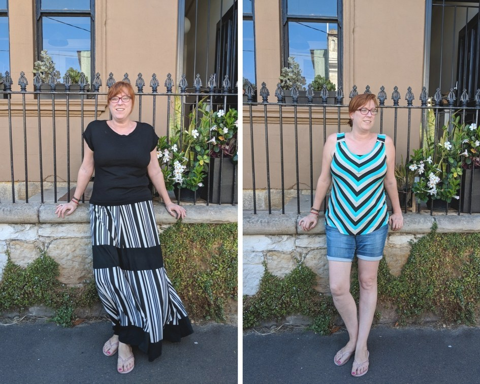 Two side by side pictures.  One shows a woman wearing a pieced skirt with chevrons made out of black, grey and white fabric, in the other she is wearing jean shorts and a teal, white and black chevron top pieced out of a striped fabric.