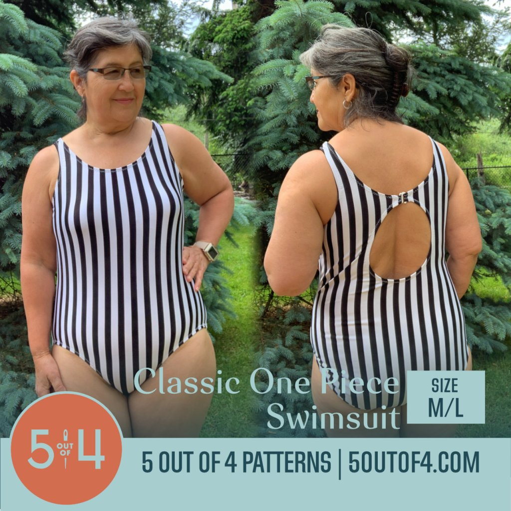Pattern cover image of a person modeling a black and white striped one piece bathing suit