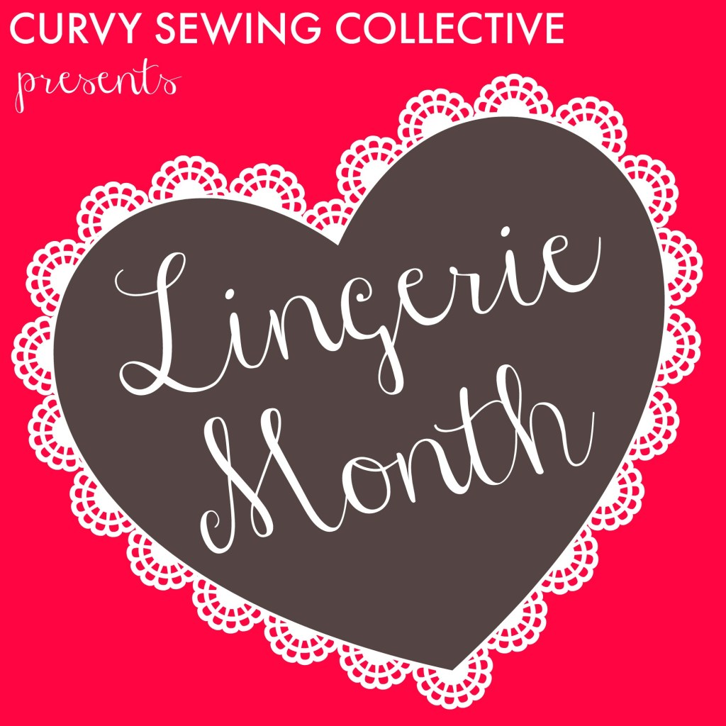 Curvy Sewing Collective logo for Lingerie Month, a red background with a brown heart inside which it reads, Lingerie Month