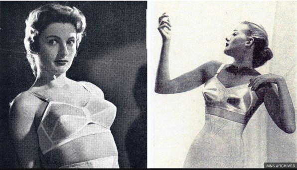 "Two fashion catalogue images show women in ""bullet"" bras, cone shaped white undergarments that lift and separate their breasts."