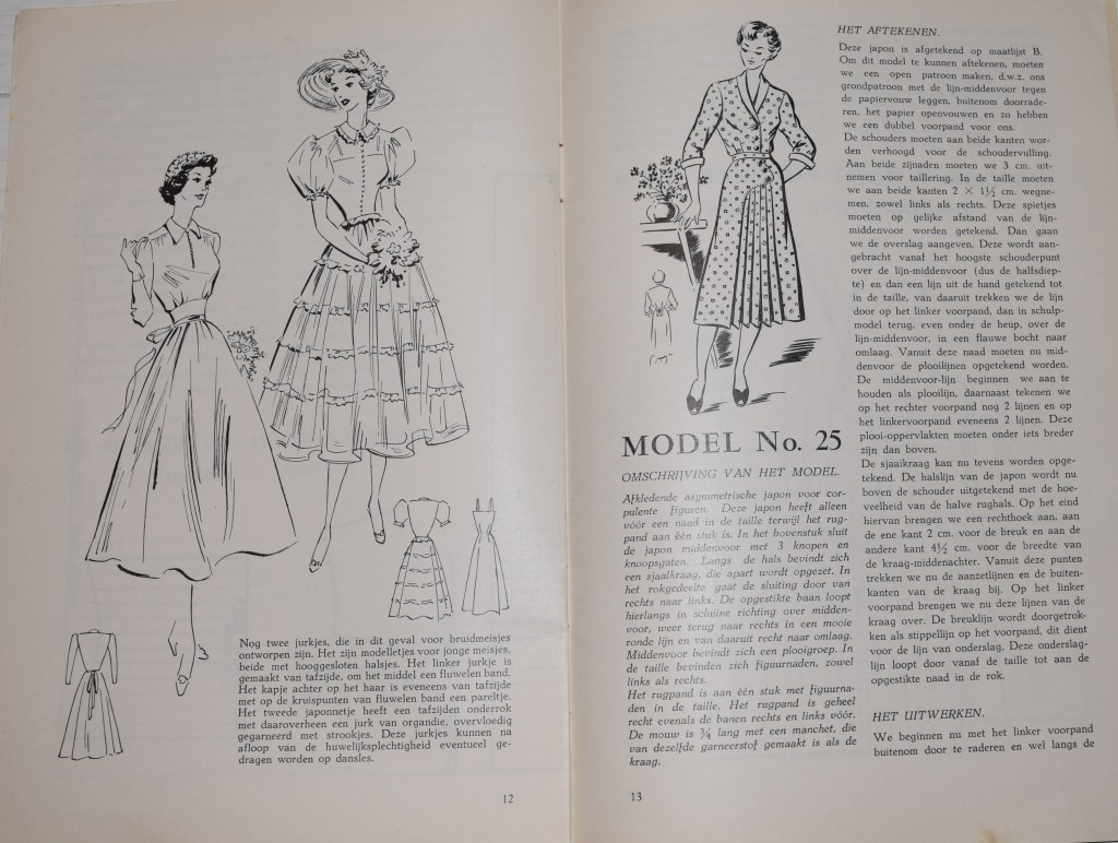 A photo of a spread from one of the booklets. On the left are fancier dresses with very full skirts and puffed short sleeves; on the right is a more utilitarian dress, with pleats in the skirt to allow movement but without the full crinoline look.
