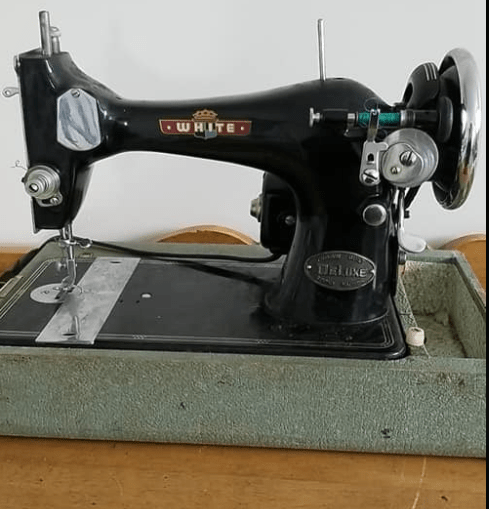 Katelynn's sewing machine, named Betty, is a black antique-style reproduction bought for a mere $20!