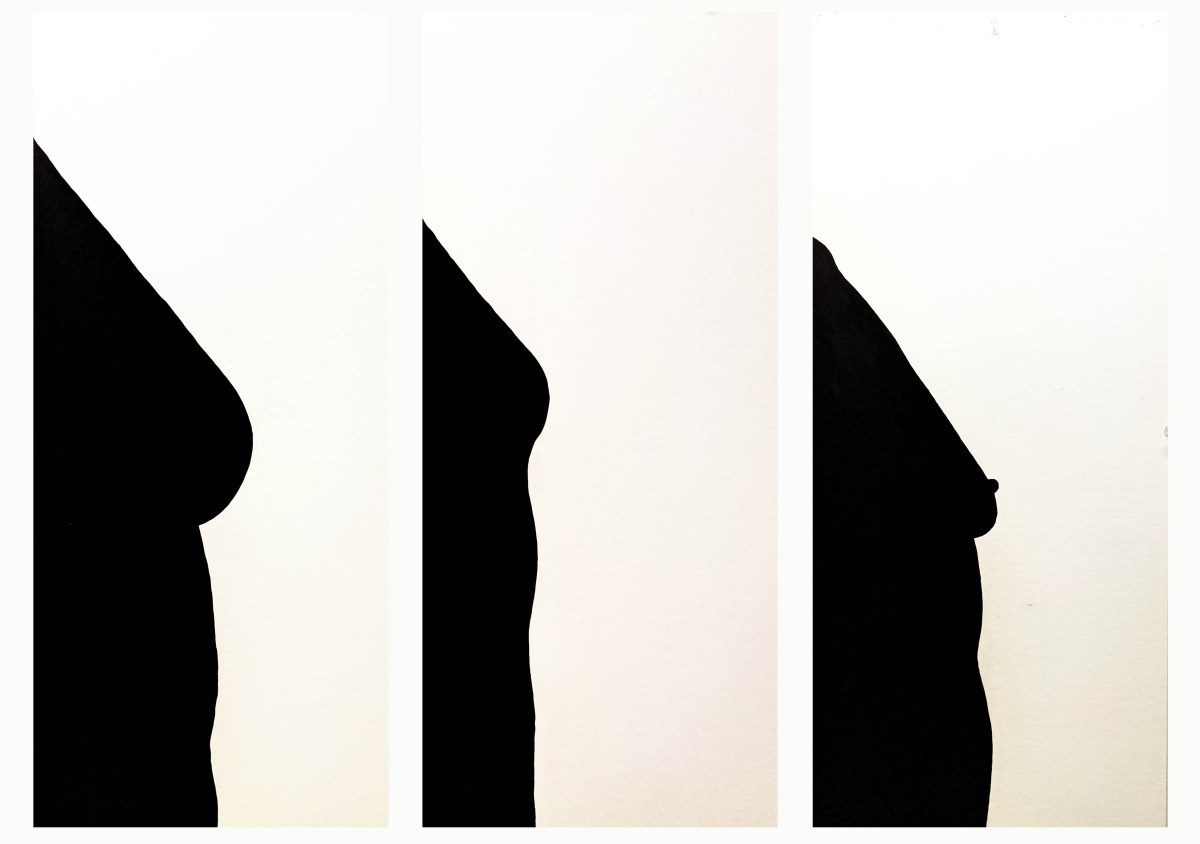Three bust silhouettes, in profile, of real people without bras.