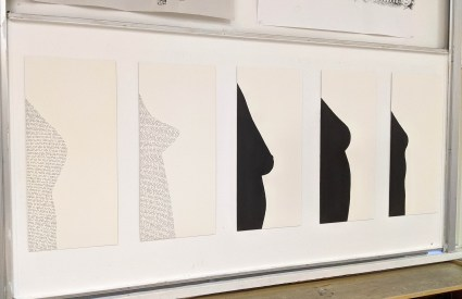 Five silhouettes of breasts in profile. Two are idealized shapes based on advertisements. Three are based on real bodies.