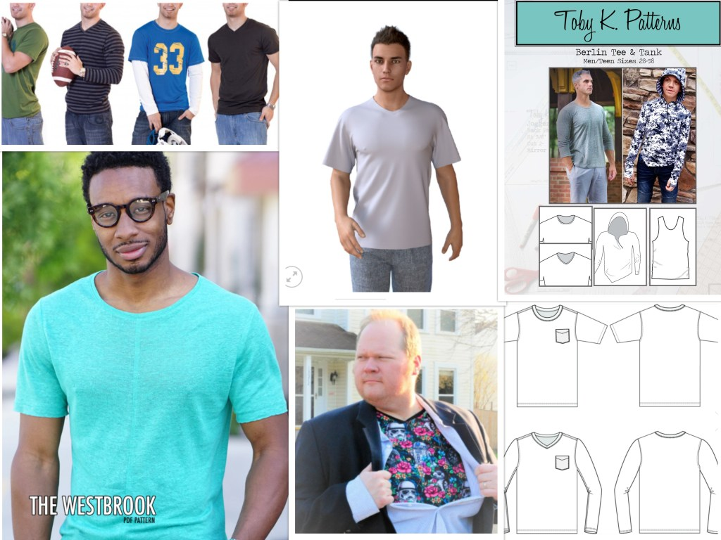 Six different tee shirt patterns--three have multiple line drawings or photos to show variations. All of these patterns have an athletic or loose fit with less shaping.