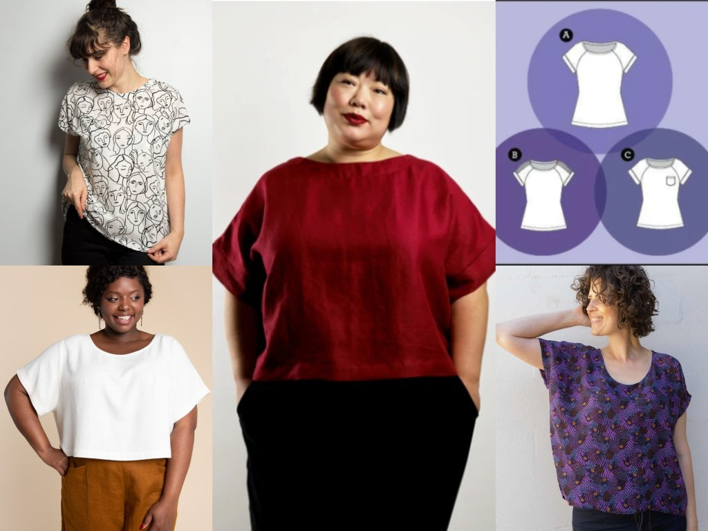 Images of  5 easy to wear woven t-shirts which readers might consider for the mini-challenge.