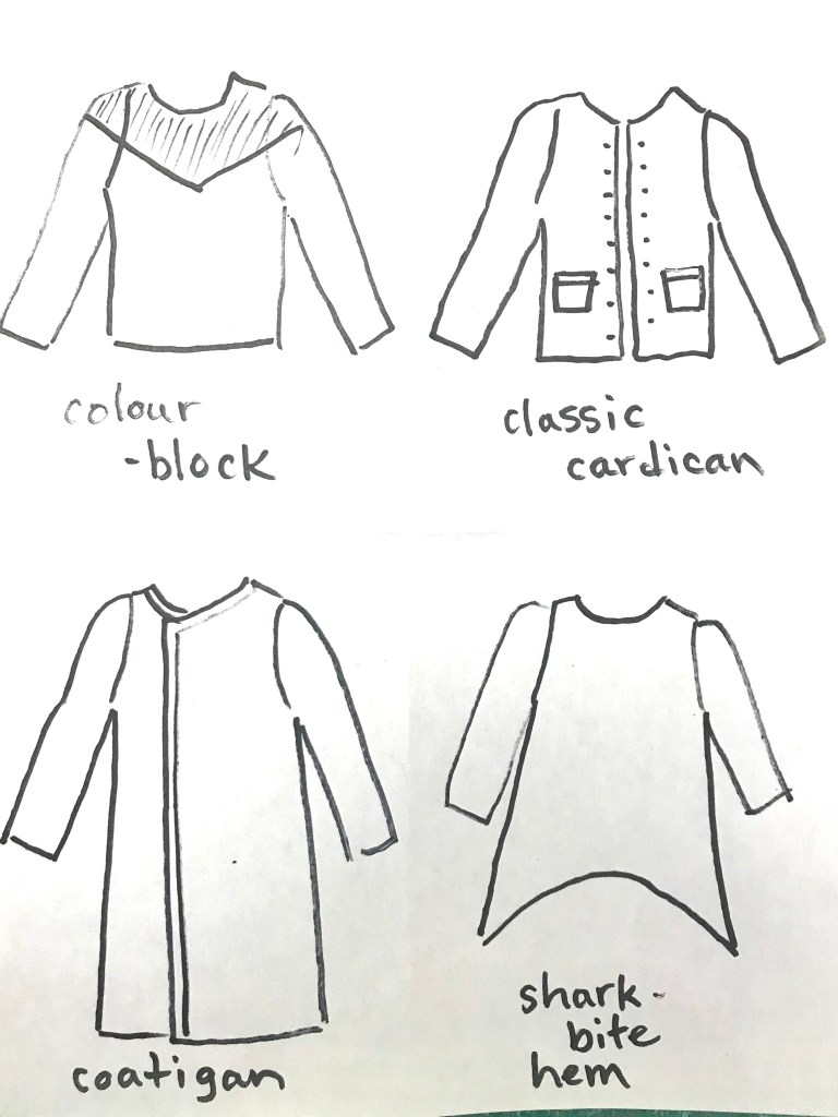Sketches of a colour-blocked t-shirt, classic cardigan, coatigan, and tunic with a shark bite hem.