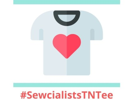 Illustration of a t-shirt with a black collar and red heart in the middle. Underneath is the text #SewcialistsTNTee.