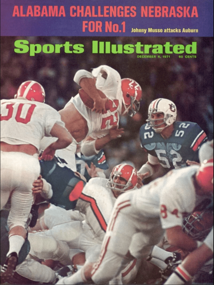 Cover of Sports Illustrated from December 6, 1971 with football players tackling each other