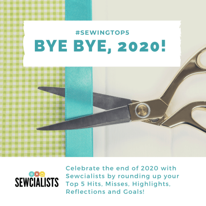"Photo of scissors cutting a turquoise-colored ribbon. Text states ""#SewingTop5"" and ""Bye Bye, 2020!"""