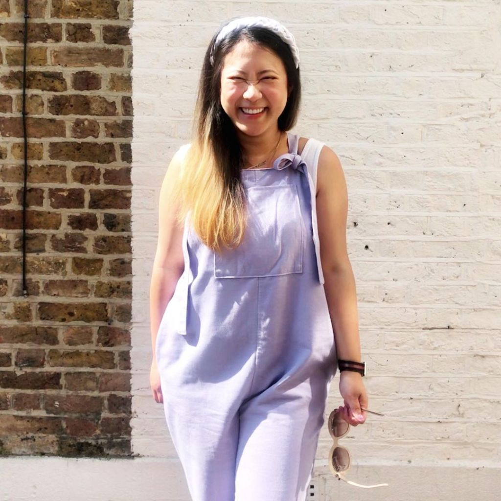 Emily wearing the Haley Dungarees by The Foldline in Lilac Denim fabric.