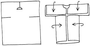 A graphic representation of a flat piece of fabric with a few cutting lines drawn on. A 2nd graphic shows how once cut, the fabric can be folded to create sleeves and fronts, thus forming a 'bog coat'.
