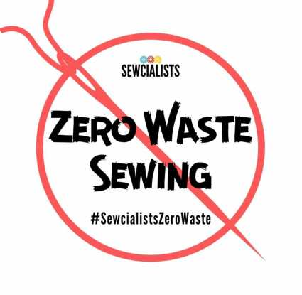 "Illustration. A red outline of a circle with a red needle and thread bisecting the circle from top left to bottom right. Within the circle is the Sewcialists logo and black text that states ""zero waste sewing"" and ""#SewcialistsZeroWaste""."