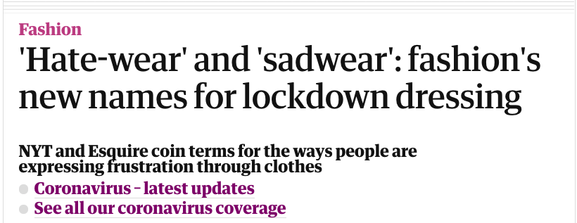 A caption from a story about hatewear and sadwear in The Guardian.