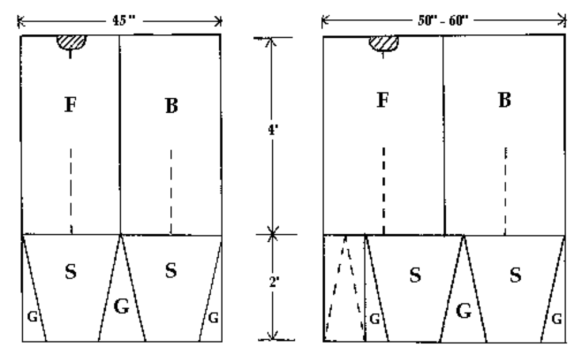 A sketch of the pattern layout of a Viking tunic.  On the tunic are rectangular and triangular shapes, denoted by letter with measurements of the fabric provided.