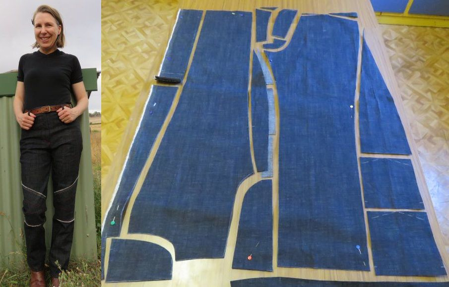 Image of a woman smiling to the camera wearing a pair of trousers with next to the image of the cutting layout of a zero-waste jeans