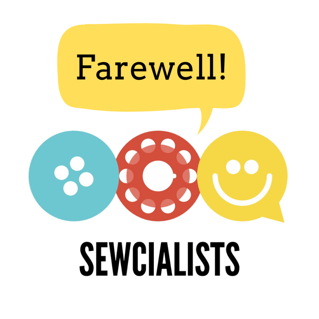 "Sewcialists logo with a speech bubble saying ""Farewell!"""