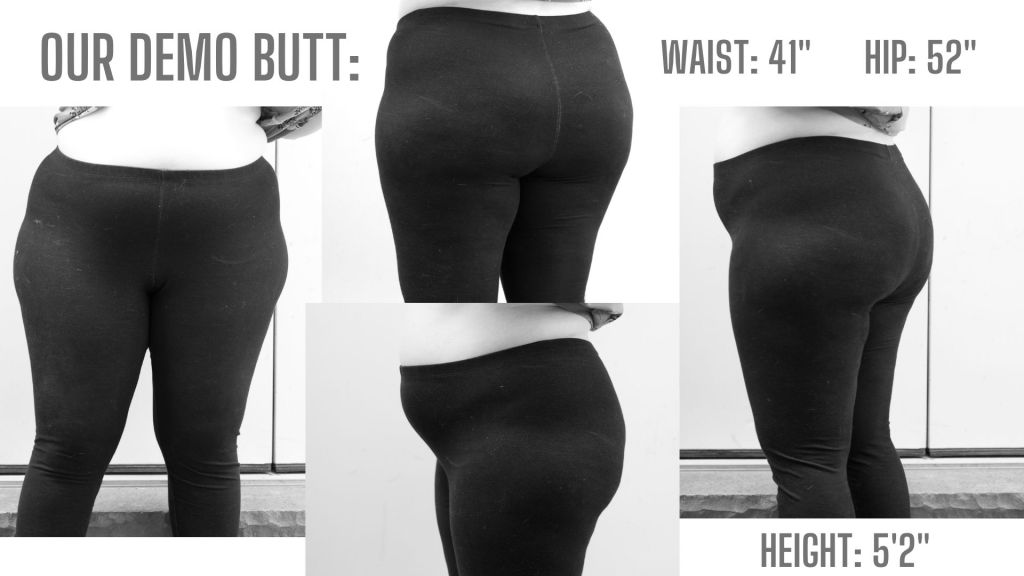 Front side and rear views of our model's bottom.