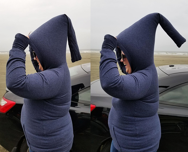 Two images side by size, both of a white woman is walking on the beach, holding up the hood on her handmade top. The hood and hoodie are full of wind and she is laughing.