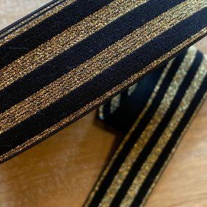 Elastiek lurex zwart en goud 40mm