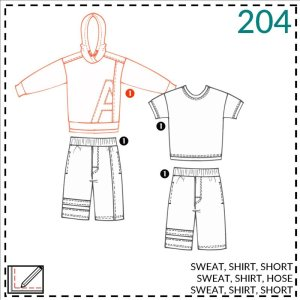 broek, t-shirt en hoodie patroon kids- Abracadabra #204