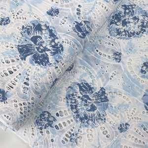 Broderie Blue flowers- katoen