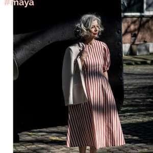 Maya stripe- katoen stretch