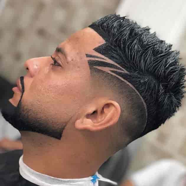 curved beard with edge hair