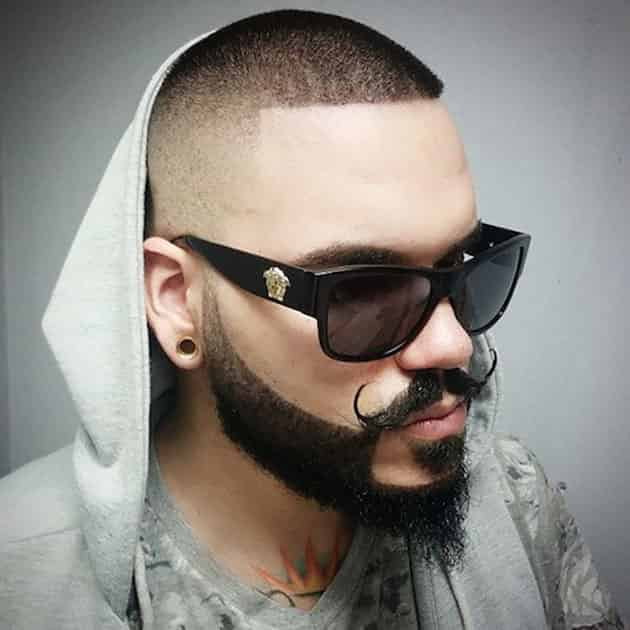 Curved Beard and Mustache with Fade up Bald Head