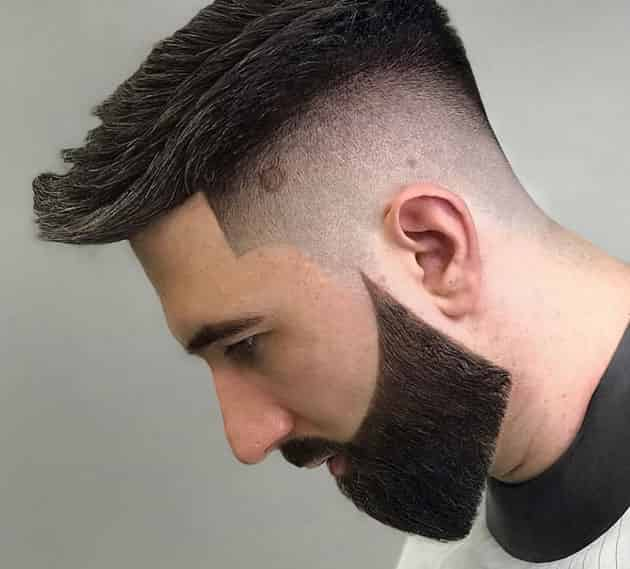 curved and detailed short beard style