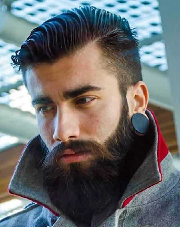Full Beard with Long Mustache and Fade Hair