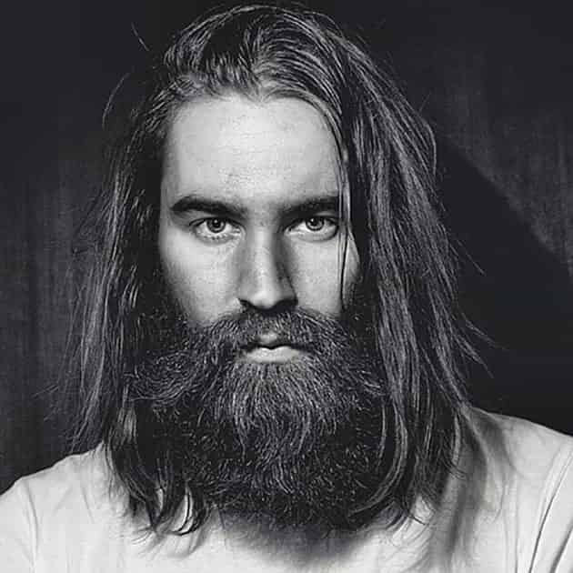 Long Extended Jaw Beard With Long Hair