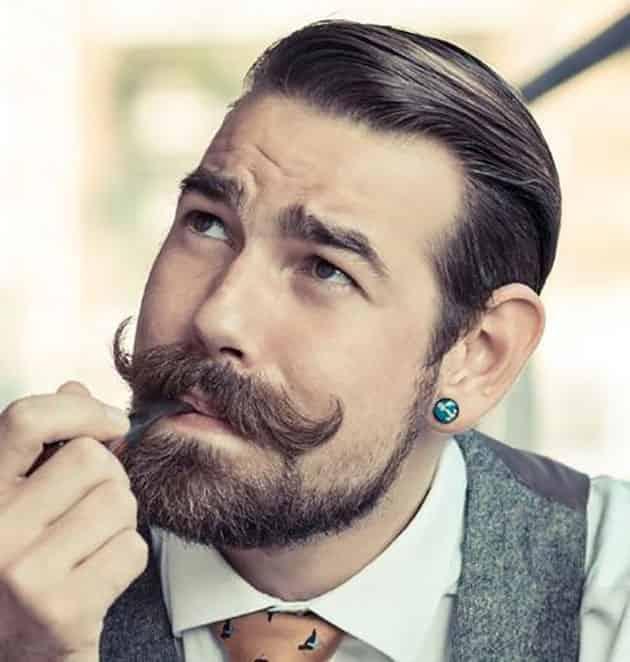 Medium Beard With Curved Mustache