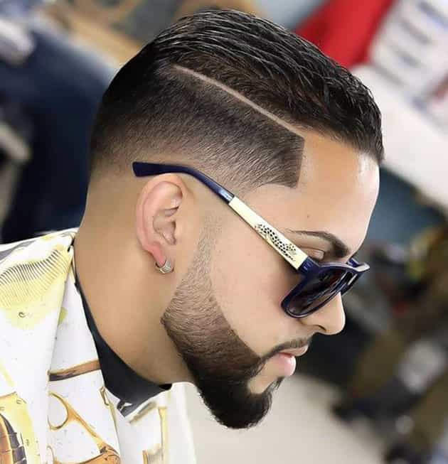 Curved beard style with back comb hair