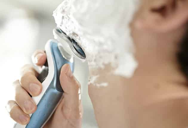 wet shave with electric shaver